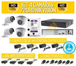 KIT DE 4 CAMARAS DE SEGURIDAD HD HIKVISION